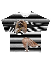 Sloth striped All-over T-Shirt front