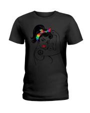 Funny Pitbull Mom Hippy Pit Ladies T-Shirt thumbnail