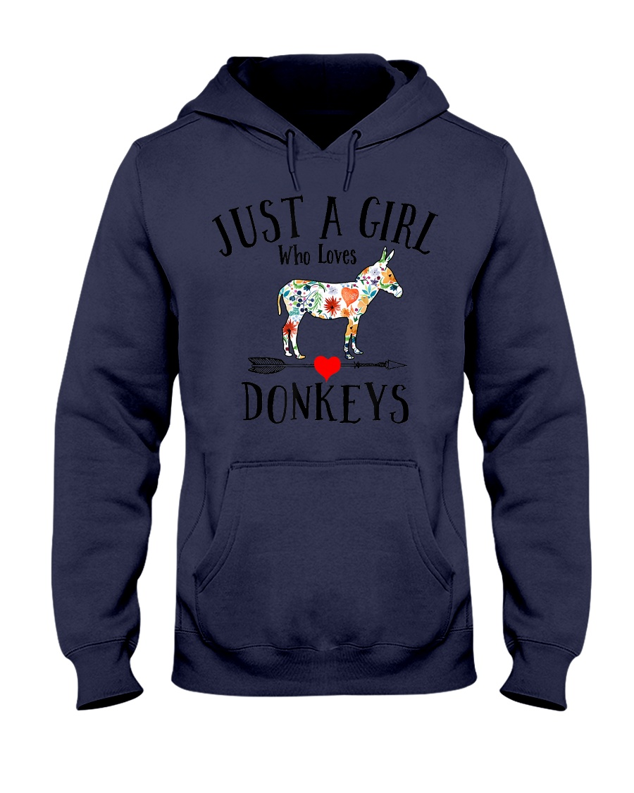 JUST A GIRL WHO LOVES DONKEYS cute funny des Hooded Sweatshirt