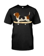 Funny Skateboarding Bassett Hound Dog T-Shi Classic T-Shirt front