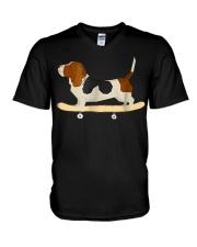 Funny Skateboarding Bassett Hound Dog T-Shi V-Neck T-Shirt thumbnail