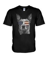 Australian Cattle Dog USA Flag Merica F V-Neck T-Shirt thumbnail