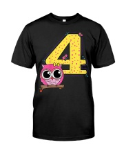 Kids 4th Birthday T-Shirt Girls Owl Pink Classic T-Shirt thumbnail