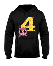 Kids 4th Birthday T-Shirt Girls Owl Pink Hooded Sweatshirt thumbnail
