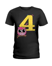 Kids 4th Birthday T-Shirt Girls Owl Pink Ladies T-Shirt thumbnail