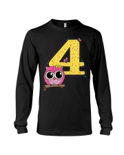 Kids 4th Birthday T-Shirt Girls Owl Pink Long Sleeve Tee thumbnail