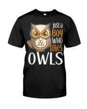 Just a Boy Who Loves Owls Cute Owl Gift  Premium Fit Mens Tee thumbnail