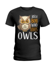 Just a Boy Who Loves Owls Cute Owl Gift  Ladies T-Shirt thumbnail