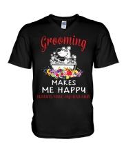Grooming Makes Me Happy V-Neck T-Shirt thumbnail