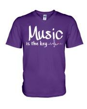 Music is the key V-Neck T-Shirt thumbnail