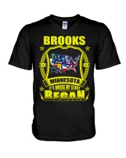 Brooks-MN American map Shirt V-Neck T-Shirt thumbnail