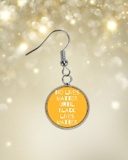 No Lives Matter Until Black Lives Matter Circle Earrings aos-earring-circle-front-lifestyle-3
