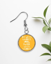 No Lives Matter Until Black Lives Matter Circle Earrings aos-earring-circle-front-lifestyle-7