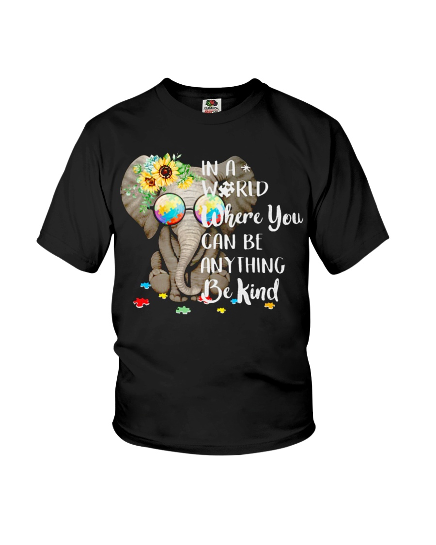 Elephant autism awareness be anything be kind Youth T-Shirt