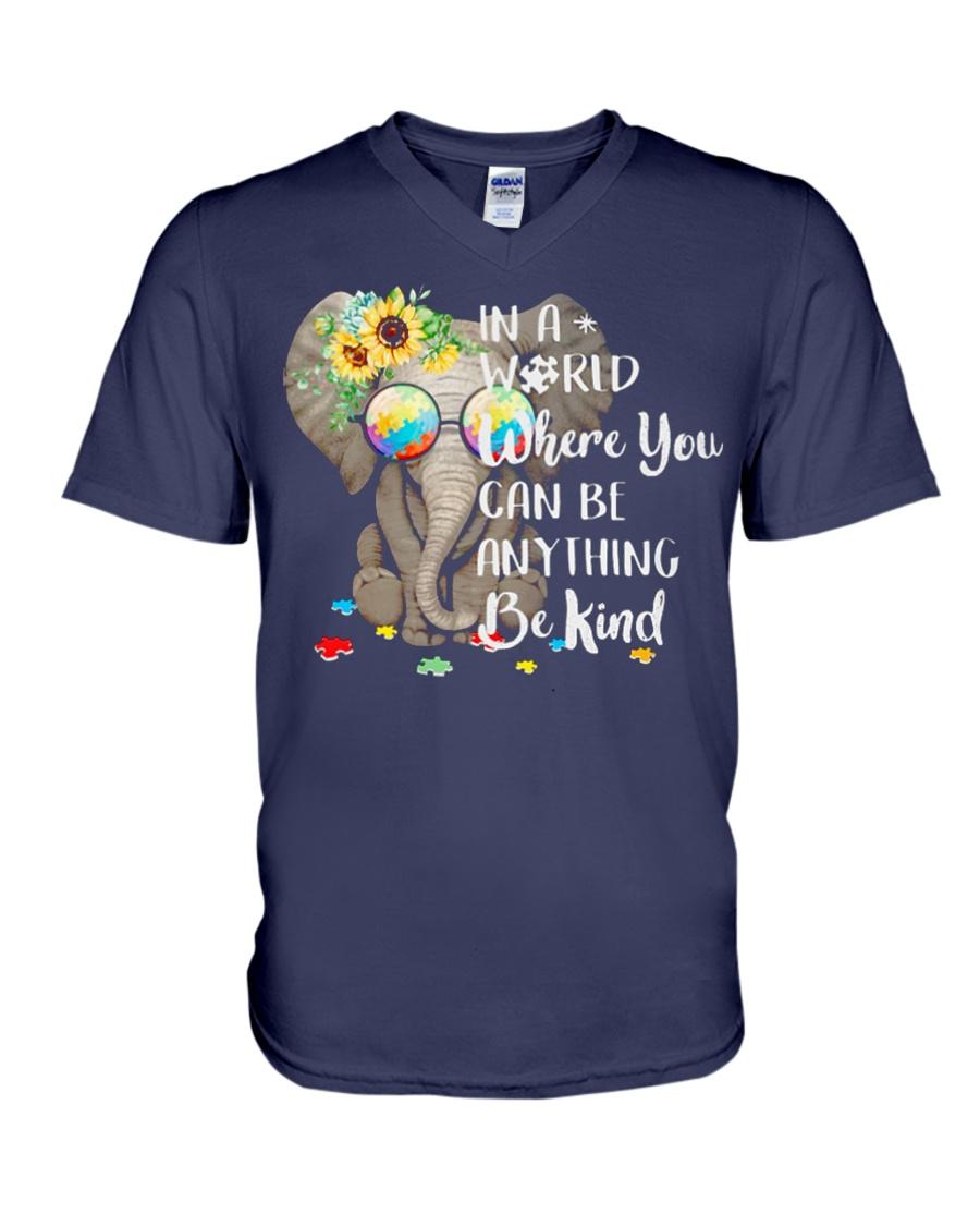 Elephant autism awareness be anything be kind V-Neck T-Shirt