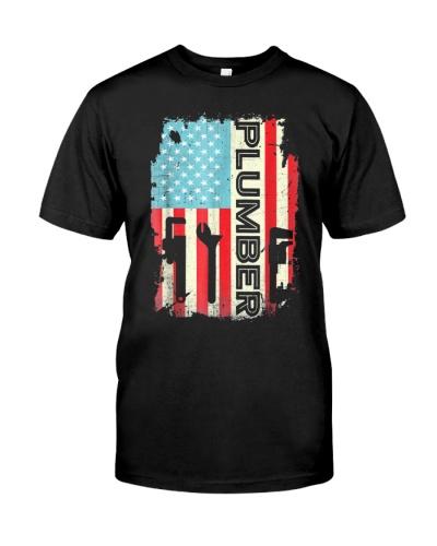 Patriotic Plumber T Shirt 4Th Of July Plumber Plum