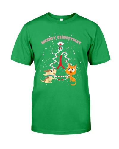 Nurse Christmas Tree Funny dog and cats Xmas