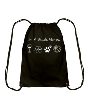 I'm A Simple Woman Wine Flip Flops Dog Basketball Drawstring Bag front