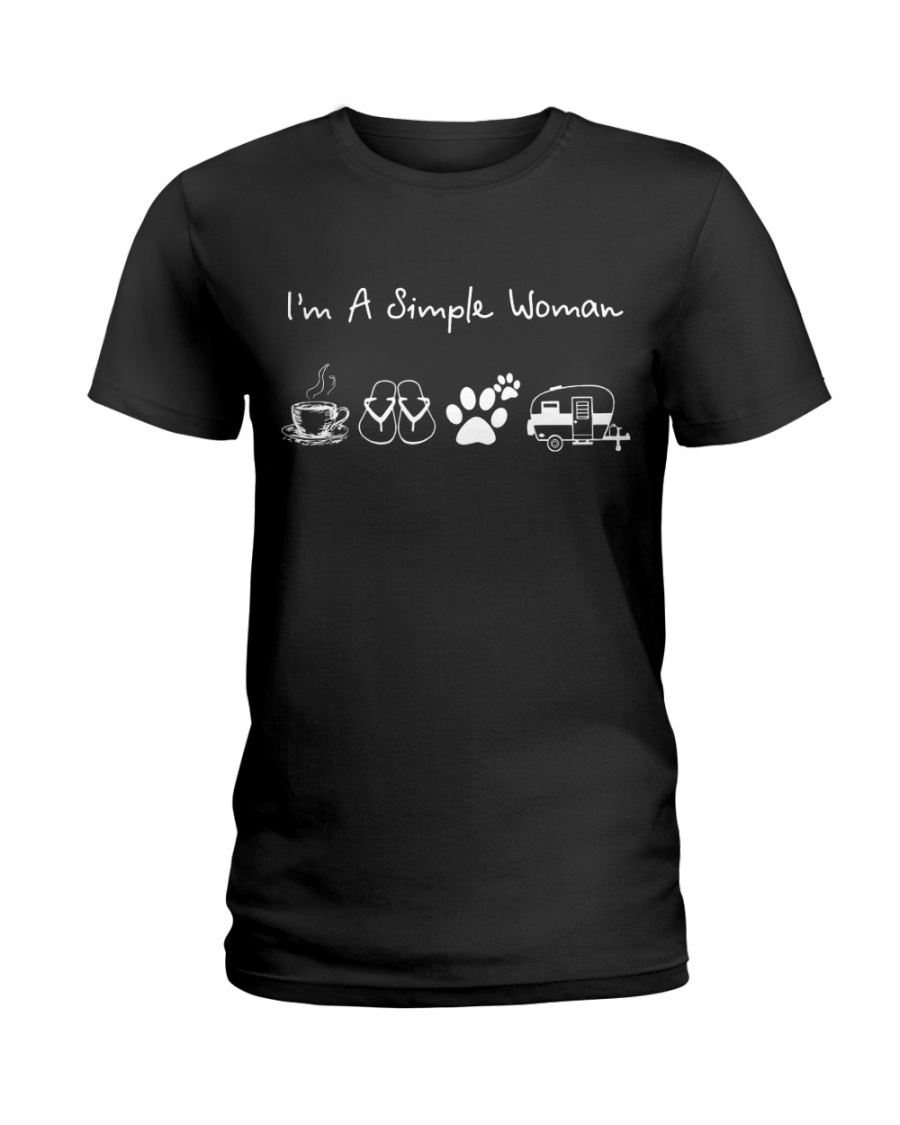 I'm A Simple Woman Coffee Flip-flops Dog Camp Ladies T-Shirt