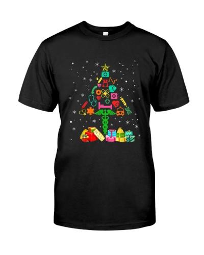 Funny Nurse Christmas Tree Tee Nursing Xmas