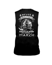 Never Underestimate An Old Man Born In March Sleeveless Tee thumbnail