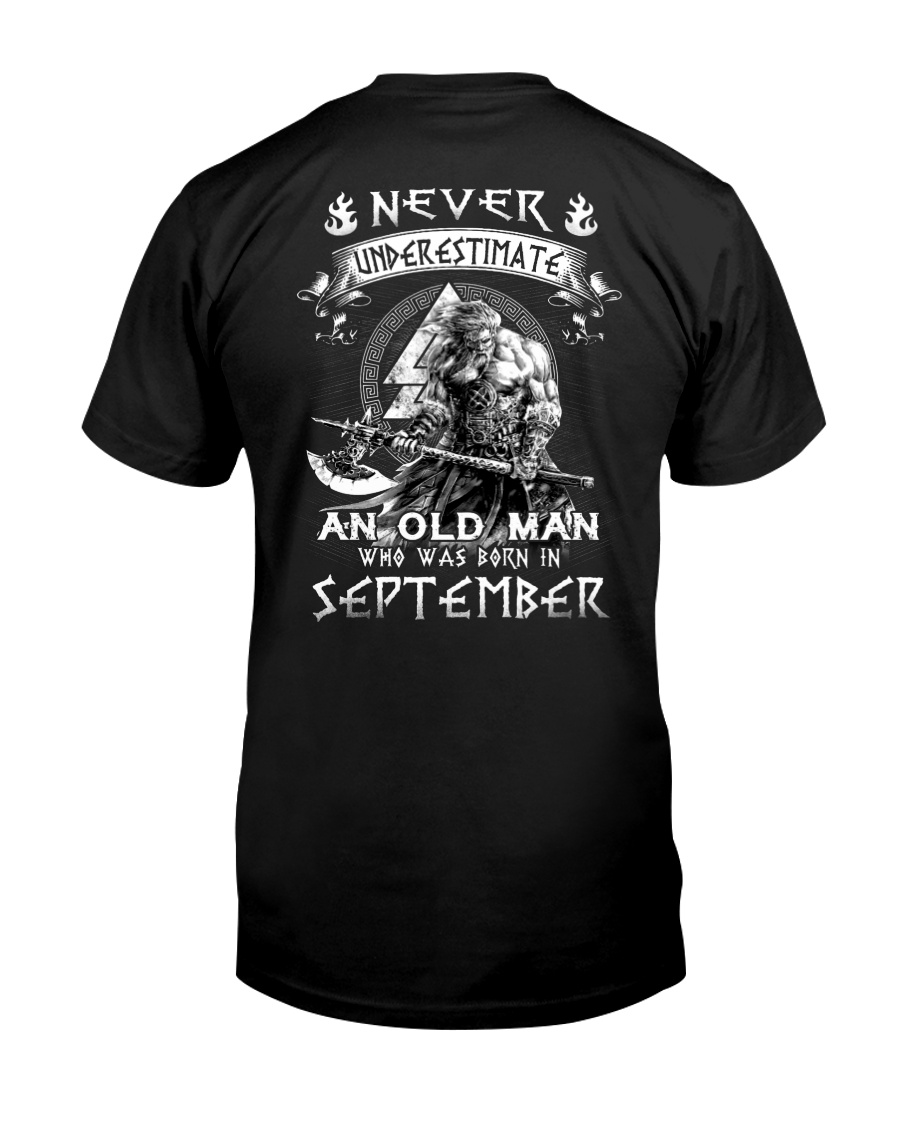 Never Underestimate An Old Man Born In September Premium Fit Mens Tee