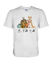 Dog Fall Akita V-Neck T-Shirt thumbnail