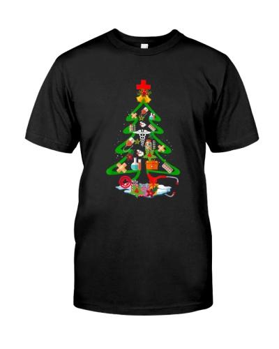 Funny Tree Christmas Medical Tools Nurse Love