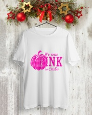 Breast Cancer We wear pink in october Classic T-Shirt lifestyle-holiday-crewneck-front-2