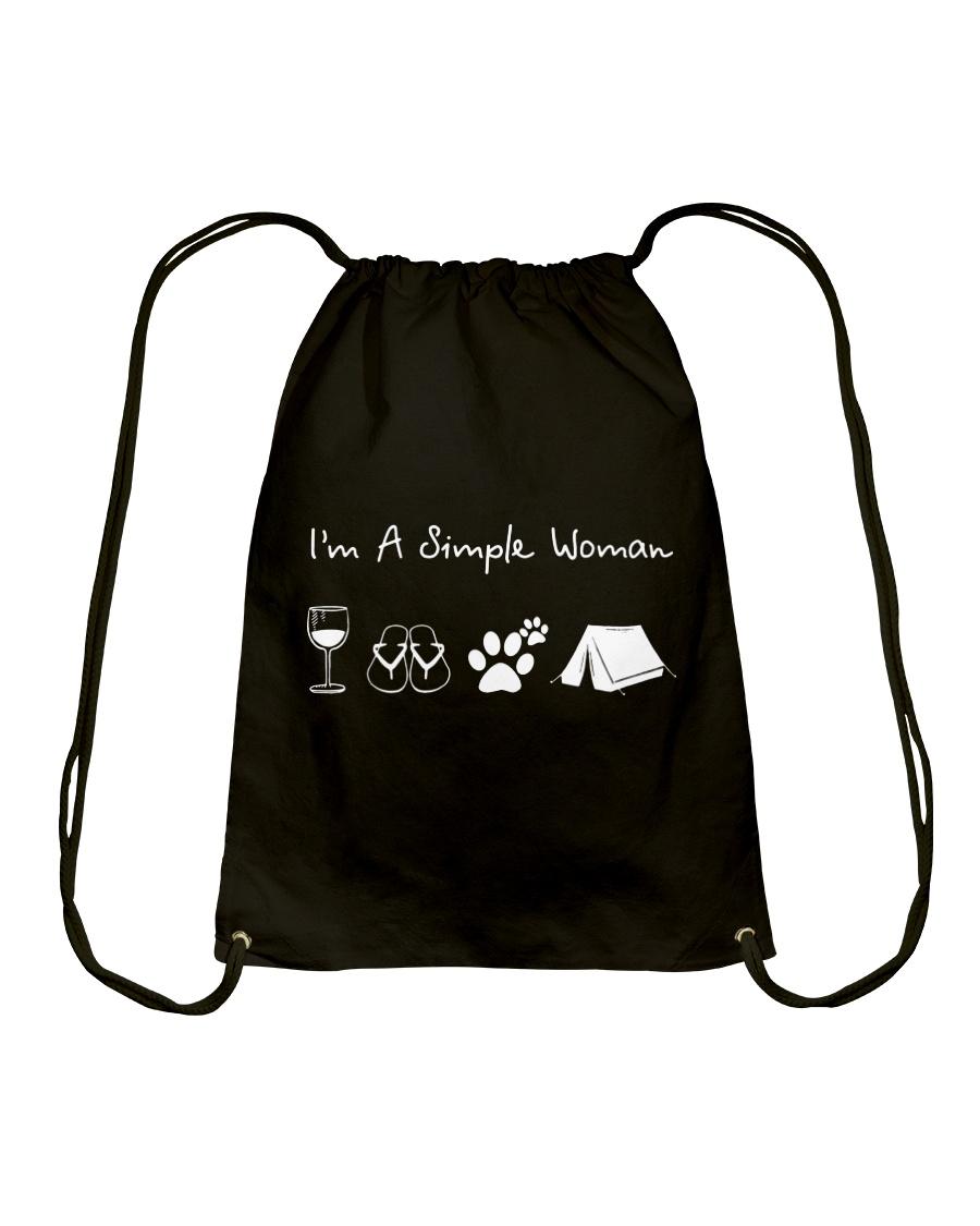 I'm A Simple Woman Wine Flip Flops Dog Camp Drawstring Bag
