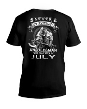 Never Underestimate An Old Man Born In July V-Neck T-Shirt tile