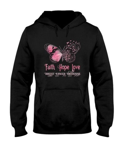 Faith Hope Love Pink Butterfly Breast Cancer