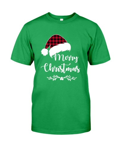 Merry Christmas with Red Plaid Santa