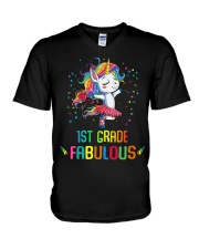 Family 1st Grade Magical QUYT Black V-Neck T-Shirt thumbnail