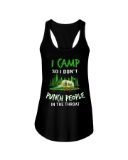 I Camp So I Don't Punch People In The Throat Ladies Flowy Tank thumbnail