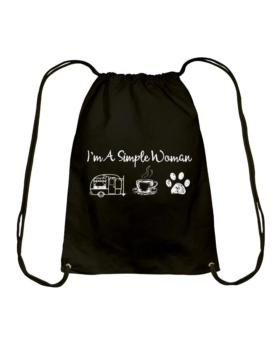 I'm A Simple Woman Camp Coffee Dog Drawstring Bag