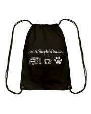 I'm A Simple Woman Camp Coffee Dog Drawstring Bag front