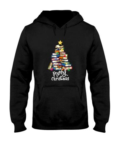 Merry Christmas Tree Shirt Love reading books