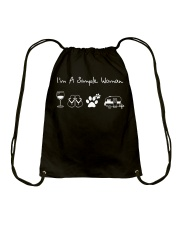 I'm A Simple Woman Wine Flip Flops Dog Camp Drawstring Bag thumbnail