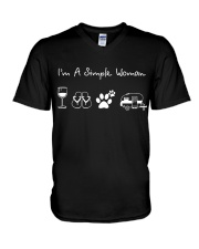 I'm A Simple Woman Wine Flip Flops Dog Camp V-Neck T-Shirt thumbnail