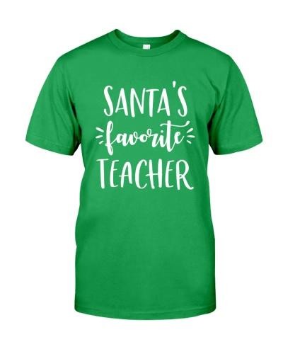 Cute Santa's Favorite Teacher shirt Funny