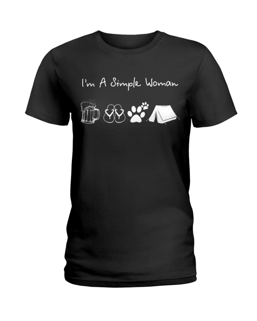 I'm A Simple Woman Beer Flip-flop Dog Tent Ladies T-Shirt