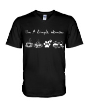 I'm A Simple Woman Coffee Campfire Dog Camp V-Neck T-Shirt thumbnail