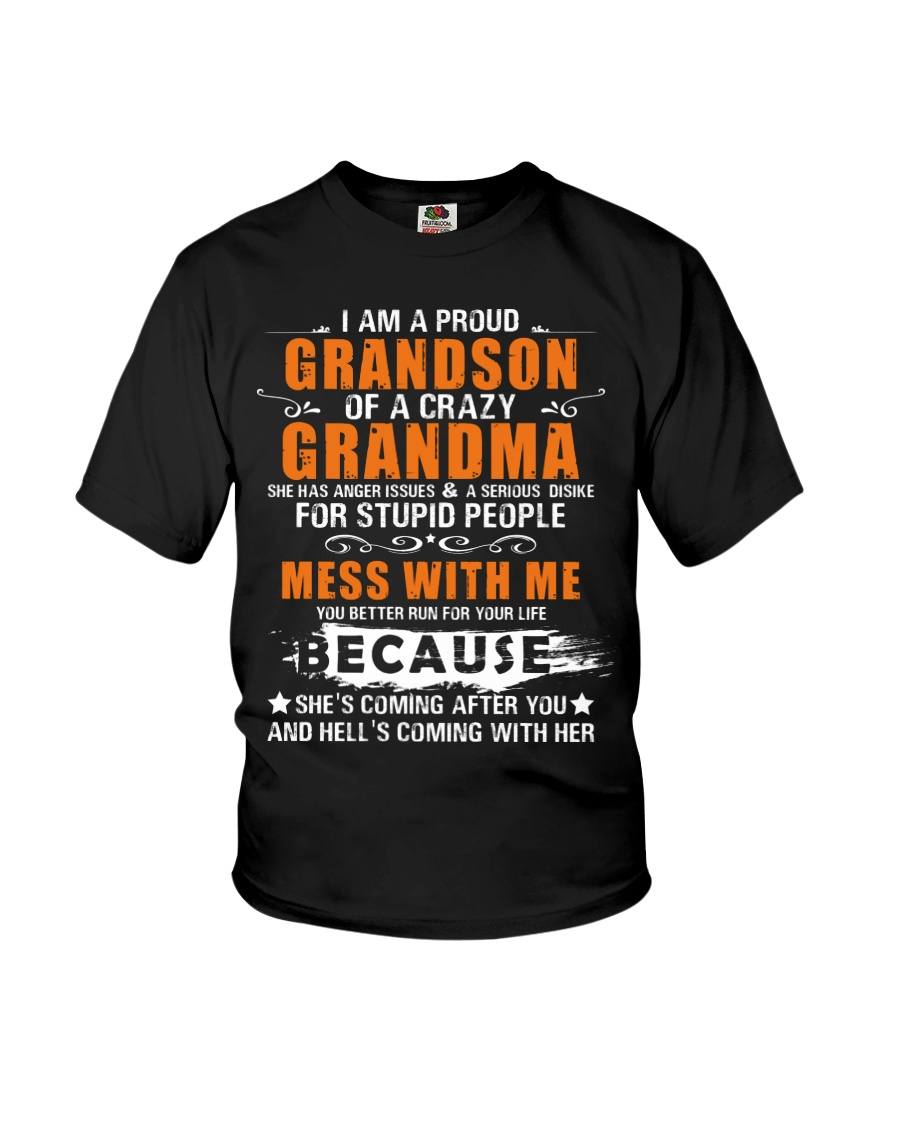 I Am A Proud Grandson Of A Crazy Grandma Youth T-Shirt