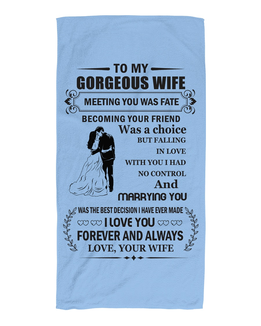 Make it the meaningful message to your wife Beach Towel