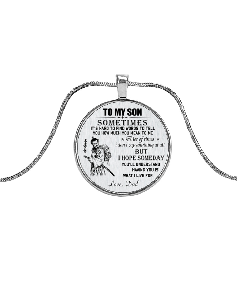 Make it the meaningful message to your son Metallic Circle Necklace