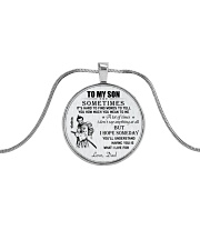 Make it the meaningful message to your son Metallic Circle Necklace front