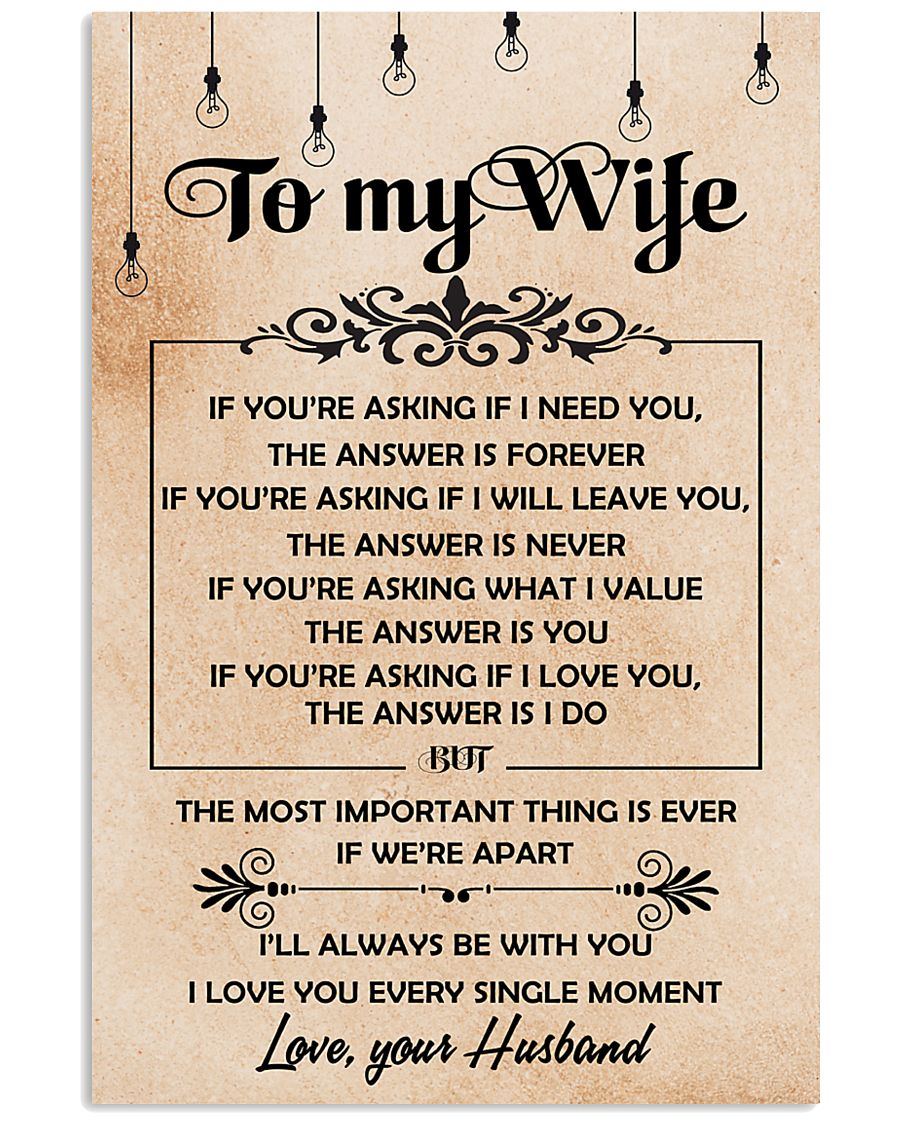 H19 Family poster - Husband to wife - The answer 11x17 Poster
