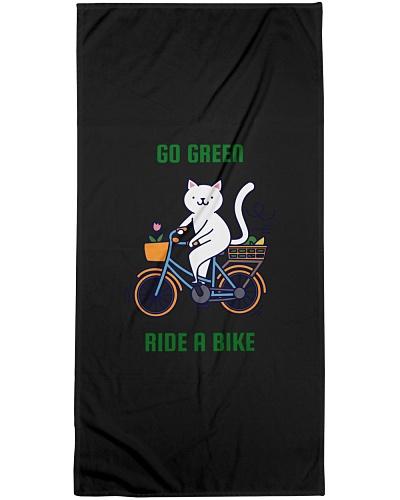 GO GREEN RIDE A BIKE FUNNY CAT SHIRT