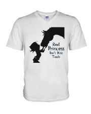 real princess don't kiss toads V-Neck T-Shirt thumbnail